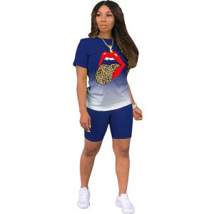 2021  Short Sleeve Gradient Blouse and Pants Positioning Printed Lips Fashion Slim Suit - Navy Blue - XXX Large