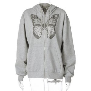 2021 Autumn and Winter  Fashion Women Wear New Casual Top Butterfly Rhinestone Printing Long-Sleeved Hooded Sweater for Women - Gray - XX Large