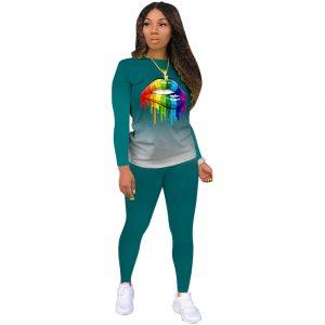 2021 New  Positioning Printing Long Sleeve Pants Plus Size Gradient Color Lips Suit Temperament Commute Sports Suit - blackish green - XXX Large