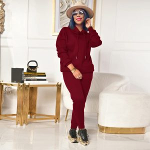 2021 Autumn and Winter Long Sleeves Solid Color Japanese Sweater Loose Casual Pants Suit - Burgundy - XX Large