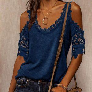 2021 Autumn New Women Loose Casual Solid Color Lace Shoulder Strap T-shirt - Blue - XX Large