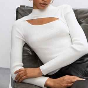 Women Clothing Top Sweater Women Sexy Cutout Design Half-High Collar Long Sleeves T-shirt Bottoming Shirt - White - Large