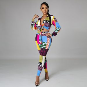 Autumn Clothing New Casual Printed Temperament Commute Skinny Pants Outfit Top Long Sleeve Fashion Two-Piece Suit - Multi - XX Large