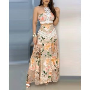 Floral Lace Hem Top  Skirt Sets Women Printed Lace Stitching Set for Women - Khaki - Extra Large