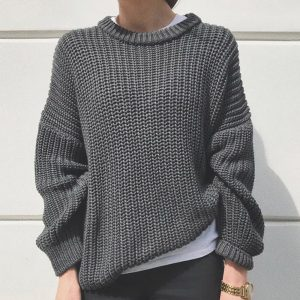 2021  Women Clothing New Casual Loose Autumn and Winter round Neck Long Sleeve Knitted Pullover Sweater Women - Gray - Extra Large
