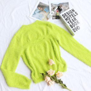 2021 Fall Women Clothing   Sexy Cutout Knitted Women Base Shirt Mink Long Sleeve Pullover Women - fluorescent green - Medium