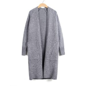 2021 Autumn and Winter New    Casual Loose Diagonal Pocket Long Knitted Cardigan Sweater Coat - Light Gray - One Size