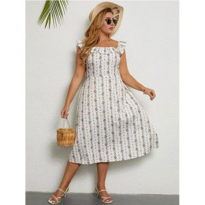 Summer Swing Floral Print Ruffle Sleeve Graceful  plus Size Dress - White - XXXX Large