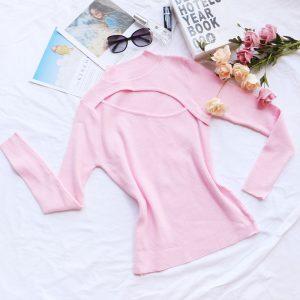 Women Clothing Top Sweater Women Sexy Cutout Design Half-High Collar Long Sleeves T-shirt Bottoming Shirt - Pink - Large