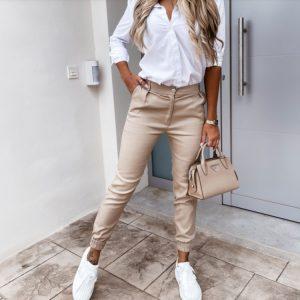 2021 New Women  Autumn New Women Pants Pocket Slim Fit Fashion Casual Cropped Pants - Khaki - XX Large