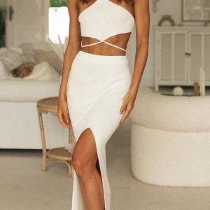 2021 New Spring and Summer  Women  Clothing Long Dress Sexy Sling Solid Color Sleeveless Dress - White - XX Large