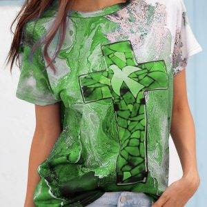 2021 Autumn New Women Loose Casual Tie Dyed Crew Neck T-shirt - Green - XX Large