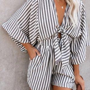 2021 Summer New Women  Leopard Print Flare Sleeve V-neck Lace-up Jumpsuit - Stripe - XX Large