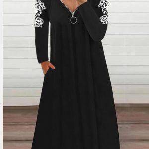 2021 Autumn New Women Casual Long Sleeve Lace Zipper V Neck Dress - Black - XX Large
