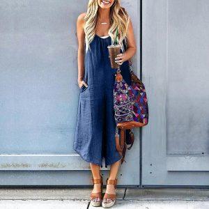 2021 Plus Size Suspender Jumpsuit Summer Denim Wide Leg Loose Casual Pants Pocket Suspender Pants - Navy Blue - XXX Large