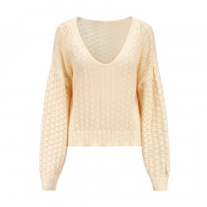 Women Clothing Sexy V-neck Hollow out Sweater Loose Knitted Top - Yellow - Extra Large