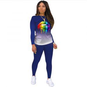2021 New  Positioning Printing Long Sleeve Pants Plus Size Gradient Color Lips Suit Temperament Commute Sports Suit - Navy Blue - XXX Large