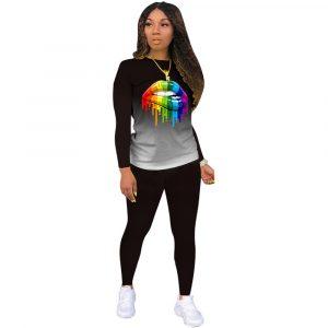 2021 New  Positioning Printing Long Sleeve Pants Plus Size Gradient Color Lips Suit Temperament Commute Sports Suit - Black - XXX Large