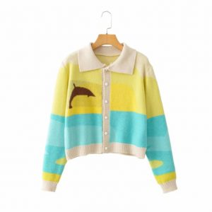 2021 Women New Street Shooting Fashion Collar Knitted Cardigan Breasted Casual Coat - Blue Stitching - Large