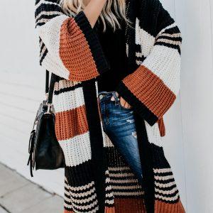 Autumn and Winter New Cardigan Sweater   Women  Clothing Large Size Loose Long Sleeve Mid-Length Coat - Orange - Extra Large
