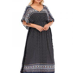 2021 Summer New Arrival Retro Ethnic Dress Large Size Loose Dress - Purplish blue - One Size