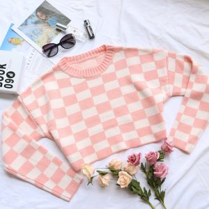 2021 Autumn And Winter New  Retro Chessboard Plaid Pullover Sweater Short Loose Sweater Women Bottoming Shirt - Pink white lattice - Large