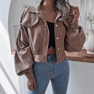 Style Autumn and Winter  Lantern Long Sleeve Corduroy Casual Short Coat Jacket - Khaki - XX Large