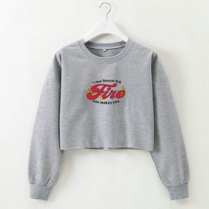 2021 Autumn  English Letter Printed round Neck Long Sleeve Short Sweater for Women - Gray - Large
