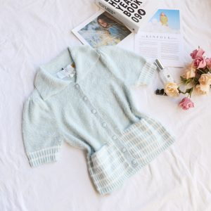 Autumn and Winter  Women Sweater Polo Polo Collar Stripes Furry Short Sleeve Pocket Knitted Cardigan - Light Blue - Large