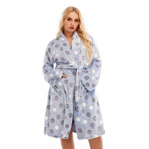 Autumn and Winter  Warm Nightgown Thickened Double-Sided Flannel Large Size Ladies Homewear Plump Girls Can Be Worn - Light Blue - XXXXX Large