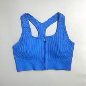 Sports Underwear Women Shock-Absorbing Beauty Back Outer Wear Bra Summer Training Bra Running Yoga Workout Bra - royal blue - Large