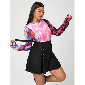 2021   High Waist Skirt Temperament Commute Black Oversized Strap Skirt plus size - Black - XXXX Large