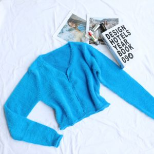 2021 Autumn and Winter New  Women Clothing Coat Cardigan Fastener Decoration V-neck Sweater Mink Hair Sweater Thick Women - Blue - Medium