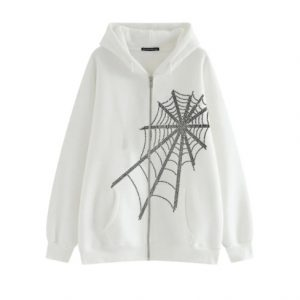 2021 Autumn and Winter  Women Clothing Casual Loose Jacket Top Spider Rhinestone Printing Long-Sleeved Hooded Sweater for Women - White - XX Large