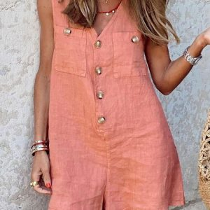 2021 New  Women Clothing Cotton and Linen V-neck Buttons Patch Pocket Vest One-Piece Shorts - Pink - XX Large
