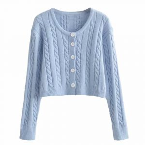 Autumn and Winter New Casual Twist Long Sleeve Single-Breasted Knitted Sweater Cardigan Jacket Women - Blue - Large