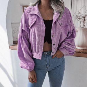 Style Autumn and Winter  Lantern Long Sleeve Corduroy Casual Short Coat Jacket - Purple - XX Large