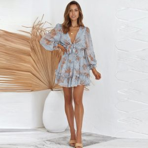 Autumn New Long-Sleeved Dress Women£ßs Independent Station  Waist-Controlled Lace-up V-neck Pullover Skirt - Light Blue - Extra Large