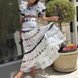 2021 Summer Chiffon Patchwork Short Top Long Elegant Stitching High Waist Skirt - White - Large
