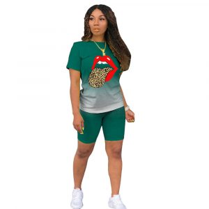 2021  Short Sleeve Gradient Blouse and Pants Positioning Printed Lips Fashion Slim Suit - blackish green - XXX Large