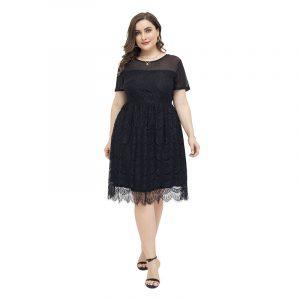 2021 Autumn New  Elegant Style Large Size Dress Lace round Neck Dress High Black Dress - Black - XXXX Large
