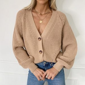 2021    New Long Sleeve Solid Color and V-neck Button Loose Knitted Cardigan Sweater Coat for Women - Khaki - XX Large