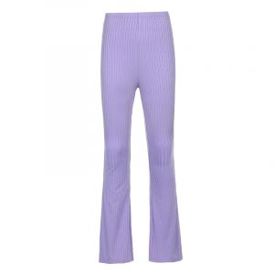 Style 2021 New Women Pants Fashion Pure Color Tight High-Waisted Boot-Cut Pants Women Stretch Bottoming Casual Trousers - Purple - Large