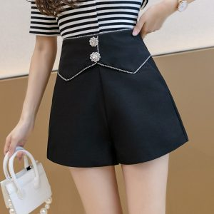 High Waist Wide Leg Shorts Women Summer New Fashion Rhinestone Loose Slimming A- line Outerwear Hot Pants - Black - XX Large