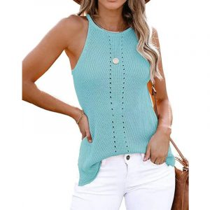 2021  Summer Women Clothing New  Loose Halter Vest Knitted Beach Women Plus size - Turquoise - XXX Large