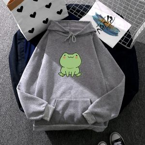 2021 Frog  Style Loose Fashion Hoodies Women - Gray - XXX Large