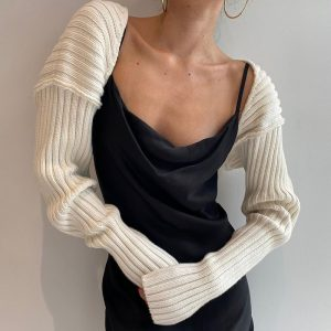 2021 Autumn New Woolen Top Sexy Solid Color Ultra Short Long Sleeve Sweater Coat - White - One Size