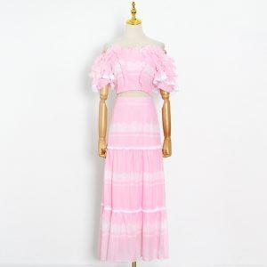 2021 Summer Chiffon Patchwork Short Top Long Elegant Stitching High Waist Skirt - Pink - Large