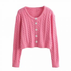Autumn and Winter New Casual Twist Long Sleeve Single-Breasted Knitted Sweater Cardigan Jacket Women - Pink - Large