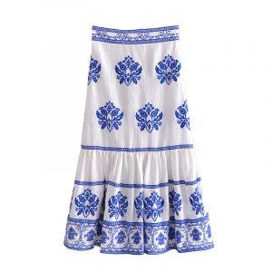 Autumn New  Style Slim Fit Slimming Embroidered Midi Dress - Multi - Large